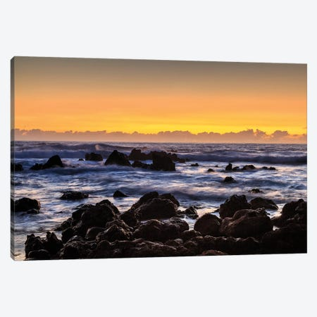 Sunrise at Laupahoehoe Beach Park, Hamakua Coast, Big Island, Hawaii Canvas Print #SWE84} by Stuart Westmorland Canvas Art Print