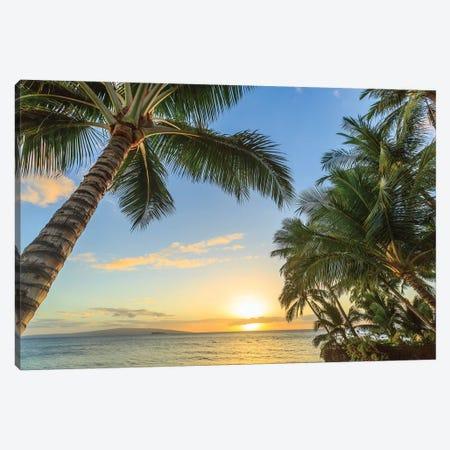 Sunset at beach near Wailea, Maui, Hawaii, USA Canvas Print #SWE90} by Stuart Westmorland Art Print