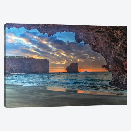 View from beach at Manele Bay of Puu Pehe at sunrise, South Shore of Lanai Island, Hawaii Canvas Print #SWE99} by Stuart Westmorland Art Print