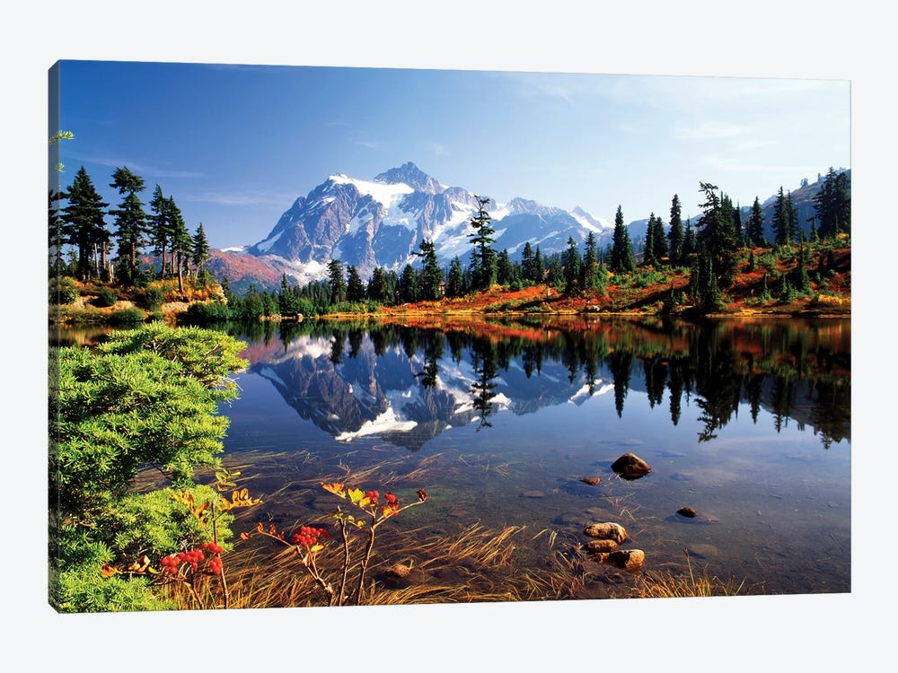 Mount Shuksan And Its Reflection In Picture Lake, North Cascades National Park, Washington, USA by Stuart Westmorland 1-piece Canvas Print