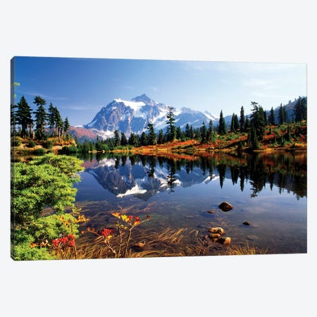 Mount Shuksan And Its Reflection In Picture Lake, North Cascades National Park, Washington, USA Canvas Print #SWE9} by Stuart Westmorland Canvas Artwork