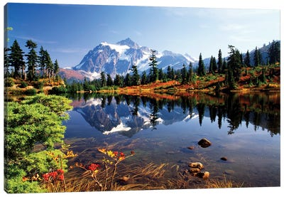 Mount Shuksan And Its Reflection In Picture Lake, North Cascades National Park, Washington, USA Canvas Art Print