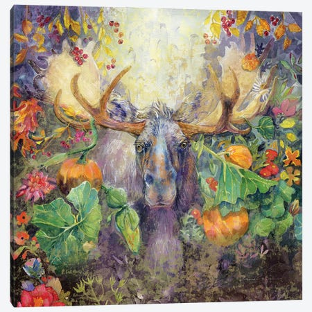 Moose In The Pumpkins Canvas Print #SWH10} by Evelia Sowash Canvas Art