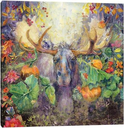 Moose In The Pumpkins Canvas Art Print