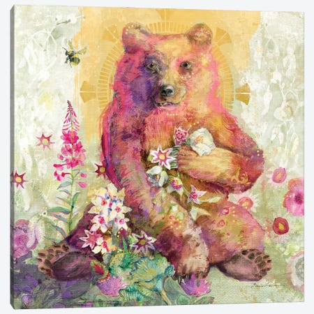 Rose The Bear Canvas Print #SWH14} by Evelia Designs Art Print