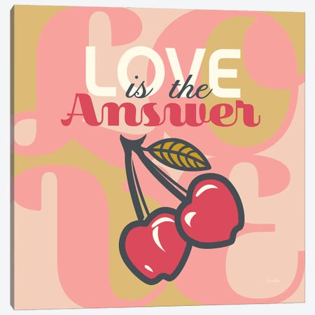 Love Is The Answer Cherries Canvas Print #SWH5} by Evelia Designs Canvas Art