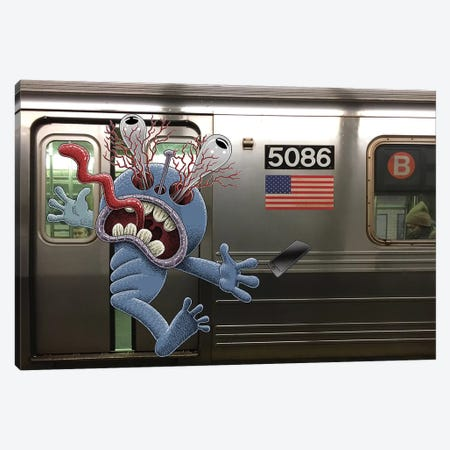 Stand Clear Of The Closing Doors, Please Canvas Print #SWY43} by Subway Doodle Canvas Artwork