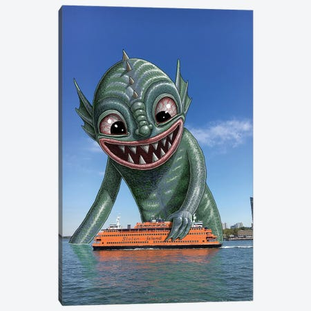 Toy Boat Canvas Print #SWY49} by Subway Doodle Canvas Artwork