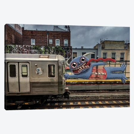 Almost Missed The Train Canvas Print #SWY69} by Subway Doodle Canvas Wall Art