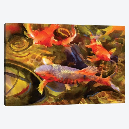 Koi Canvas Print #SYE19} by Sarah Yeoman Canvas Artwork