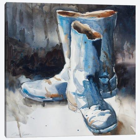 These Boots Canvas Print #SYE42} by Sarah Yeoman Canvas Art Print