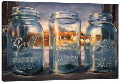 Ball Jars And Sunset Canvas Art Print