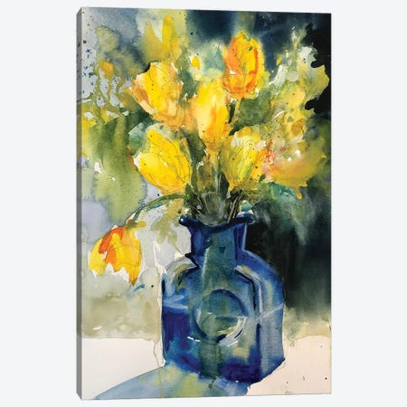 Yellow Tulips Canvas Print #SYE52} by Sarah Yeoman Canvas Wall Art