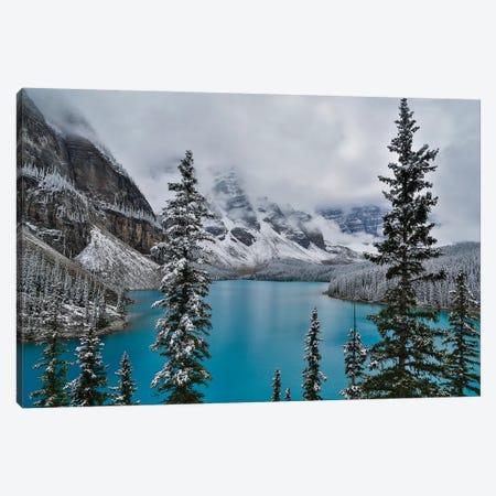 Lake Moraine with fresh late summer snow Banff National Park, Alberta, Canada Canvas Print #SYG2} by Sylvia Gulin Canvas Wall Art