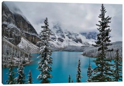 Lake Moraine with fresh late summer snow Banff National Park, Alberta, Canada Canvas Art Print