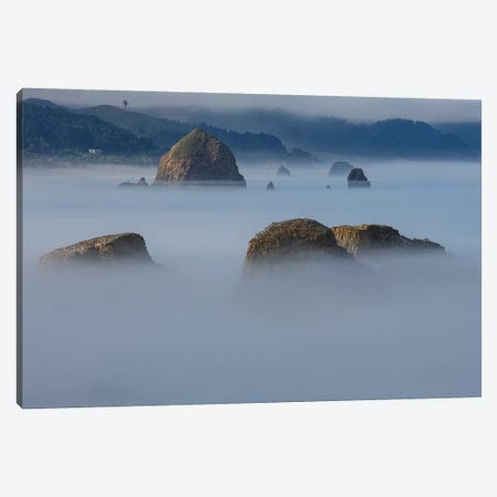 View of Cannon Beach with sea stacks with rising fog from Ecola State Park Canvas Print #SYG3} by Sylvia Gulin Canvas Artwork