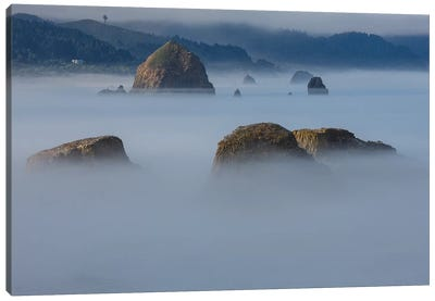 View of Cannon Beach with sea stacks with rising fog from Ecola State Park Canvas Art Print