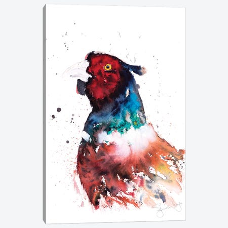 Pheasant Head Canvas Print #SYK109} by Syman Kaye Art Print