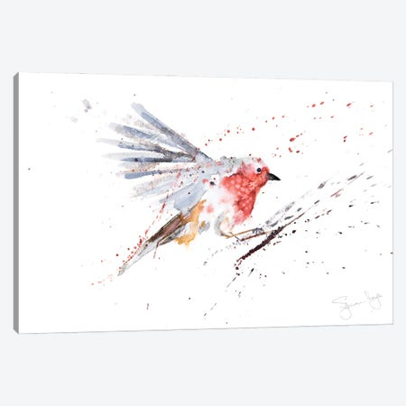 Robin In Flight Robin Canvas Print #SYK131} by Syman Kaye Canvas Art