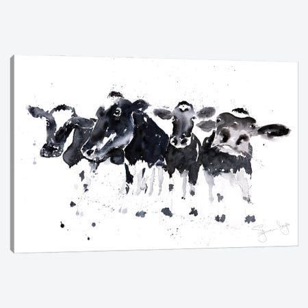 Row Of Cows B_W Canvas Print #SYK136} by Syman Kaye Canvas Art Print