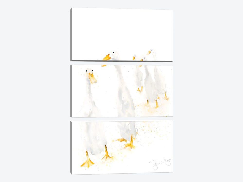 Runner Ducks Standing by Syman Kaye 3-piece Canvas Art