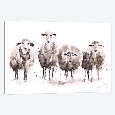Sheep More Sheep In A Row Canvas Print #SYK143} by Syman Kaye Canvas Art Print