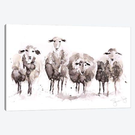 Sheep More Sheep In A Row Canvas Print #SYK143} by Syman Kaye Canvas Art Print