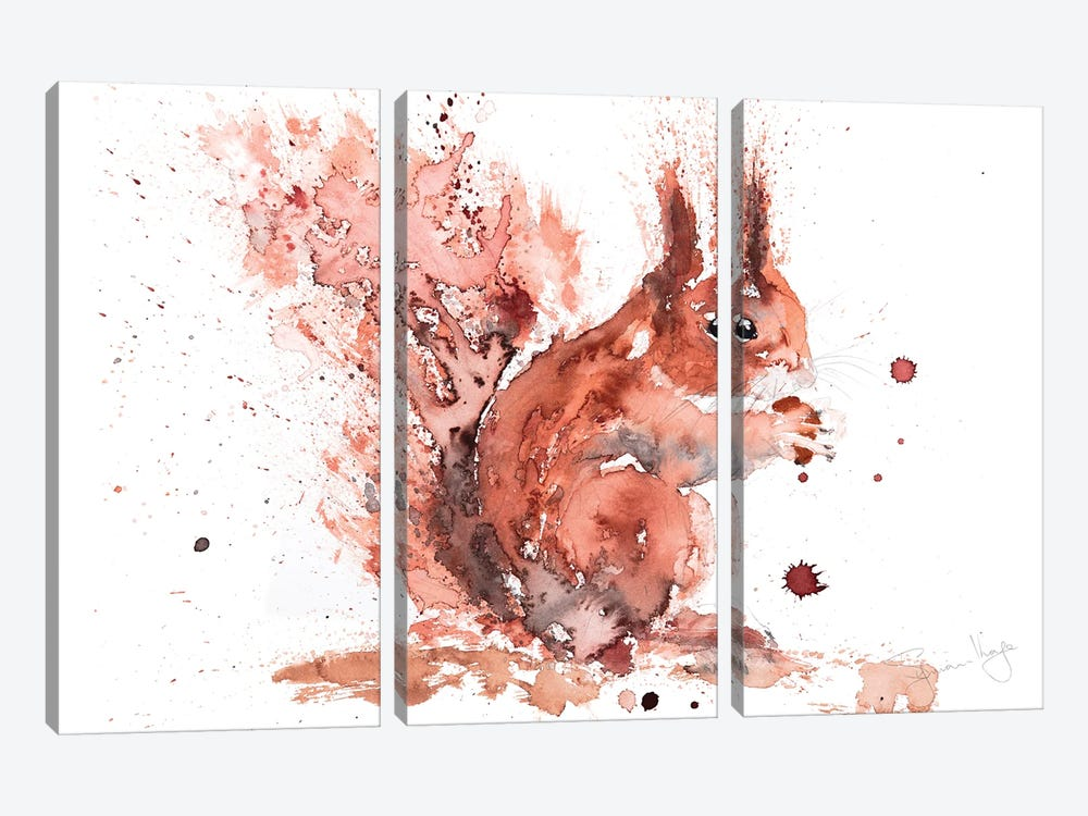 Squirrel Rusty Nuts by Syman Kaye 3-piece Art Print