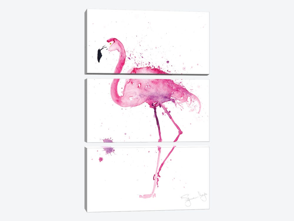 Stepping Out IV Flamingo by Syman Kaye 3-piece Canvas Print