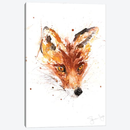 Flower Fox Canvas Print #SYK47} by Syman Kaye Canvas Art