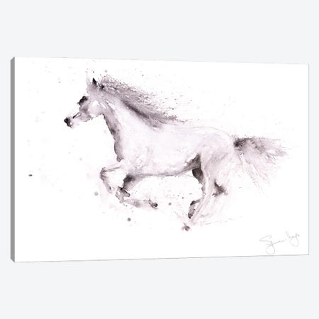 Horse White Horse Galloping Canvas Print #SYK72} by Syman Kaye Canvas Artwork