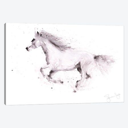Horse White Horse Galloping Canvas Print #SYK72} by Syman Kaye Canvas Artwork