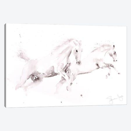 Horses White Canvas Print #SYK74} by Syman Kaye Canvas Art Print