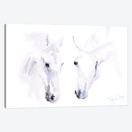 Horses White Pair Canvas Print #SYK75} by Syman Kaye Art Print
