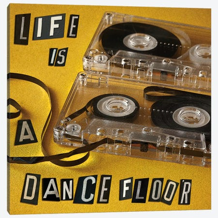 Life Is A Dance Floor Canvas Print #SYM32} by Symposium Design Canvas Wall Art
