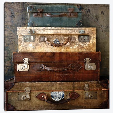 Suitcases 3-Piece Canvas #SYM44} by Symposium Design Canvas Wall Art