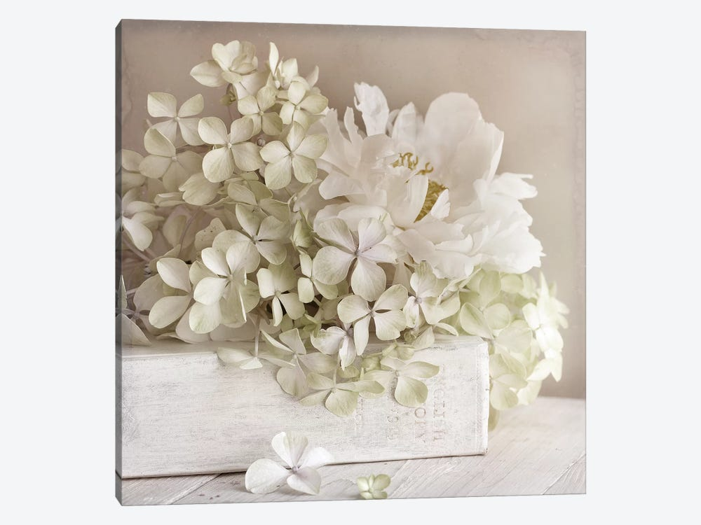 White Flower Book by Symposium Design 1-piece Canvas Wall Art