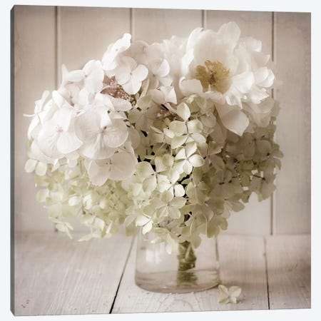 White Flower Vase Canvas Print #SYM54} by Symposium Design Art Print