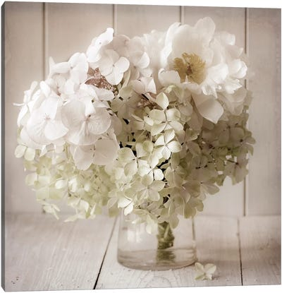 White Flower Vase Canvas Art Print