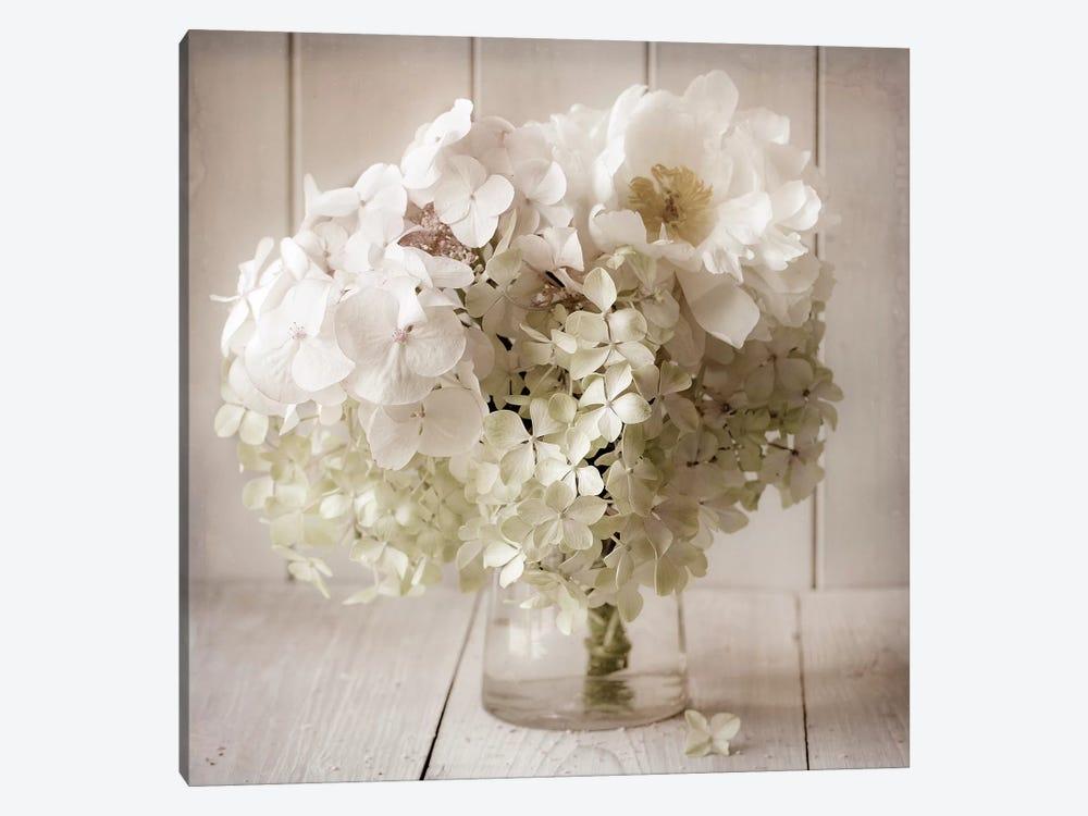 White Flower Vase by Symposium Design 1-piece Art Print