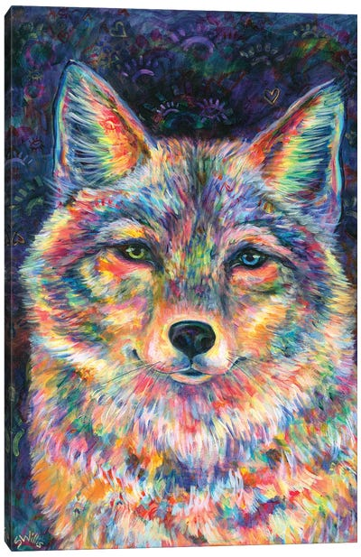 Rainbow Coyote Canvas Art Print