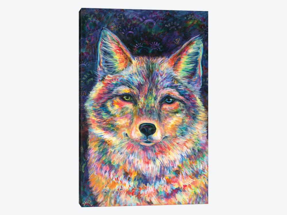 Rainbow Coyote by Shelby Willis 1-piece Canvas Art Print