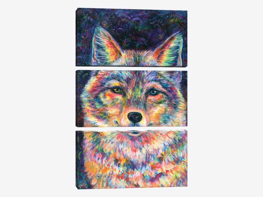 Rainbow Coyote by Shelby Willis 3-piece Canvas Art Print