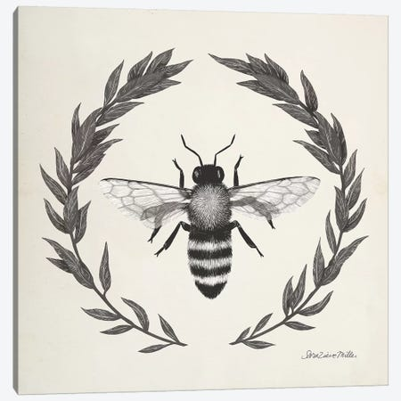 Happy to Bee Home I Neutral Canvas Print #SZM15} by Sara Zieve Miller Canvas Art Print