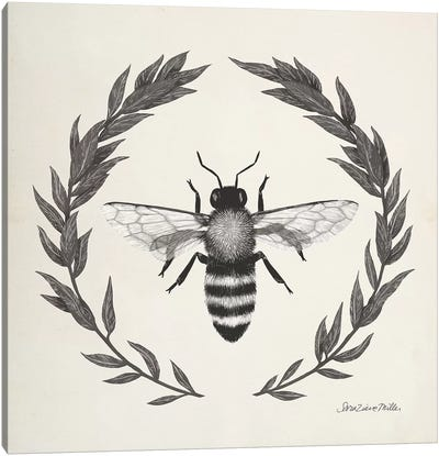 Happy to Bee Home I Neutral Canvas Art Print