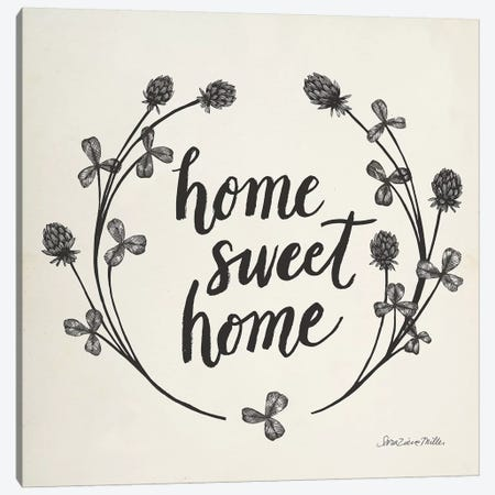 Happy to Bee Home I Words Neutral Canvas Print #SZM16} by Sara Zieve Miller Canvas Print