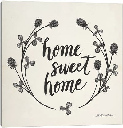 Happy to Bee Home I Words Neutral Canvas Art Print