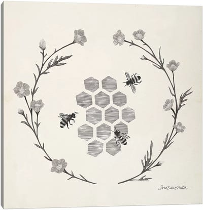 Happy to Bee Home III Neutral Canvas Art Print