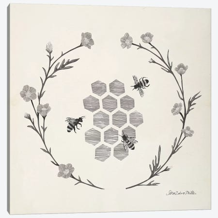 Happy to Bee Home III Neutral Canvas Print #SZM18} by Sara Zieve Miller Canvas Art