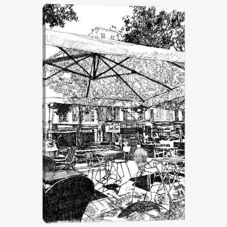 Outdoor Seating At The Café Canvas Print #SZQ14} by Suzie-Q Canvas Print